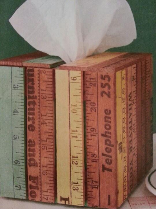 Vintage ruler tissue box cover Great Teacher gift for your new teacher