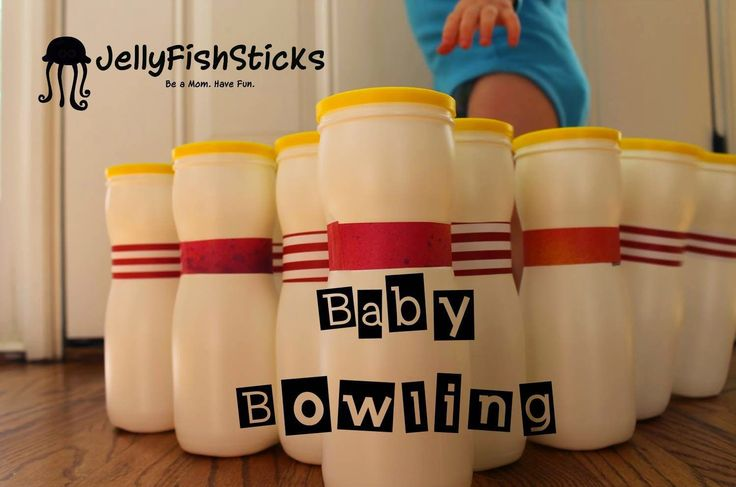 baby bowling, recycled puff containers