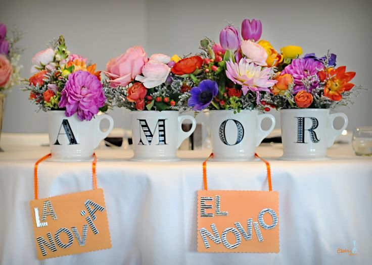 Sofia & Matt - sweetheart table flower arrangements - perfect for a Mexican themed wedding!