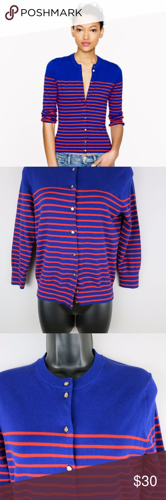 "[J. Crew] Jackie Nautical Cardigan J.CREW Jackie Cardigan Sweater Nautical Stripes Blue Orange MEDIUM $72  Gently used  Please see photos for all details Length - 22"" Sleeve length - 18.5"" Bust (armpit to armpit) - 17.5"" J. Crew Sweaters Cardigans"