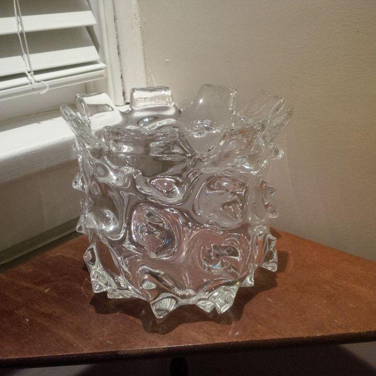 brutalist glass Murano Heavy Art Vase Large Horned Edged Vintage