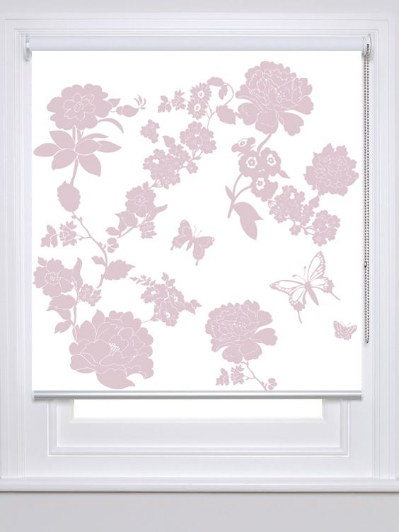 Laura Felicity Design | Pretty Flower Window Blind range, trim pattern, Dusky Lavender. These floral window blinds would suit master and spare bedrooms, children's bedroom or playroom, baby nursery, kitchen, hallway or living room. Available in a range of colours, with bespoke colour options available. Plus the option of either a roller blind or roman blind. RRP from £135.