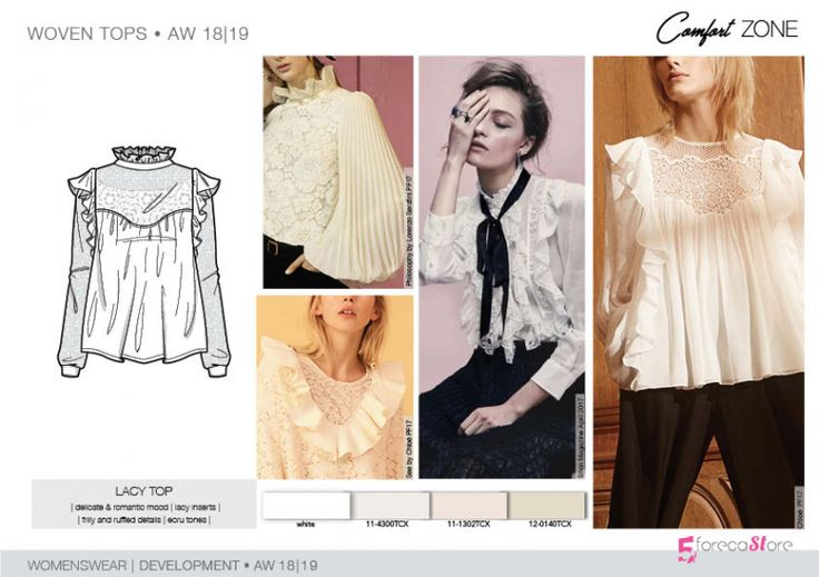 FW 208-19 Trend forecast: LACY TOP, delicate and romantic mood,frilly and ruffled details, development designs by 5forecaStore Fashion trend forecasting.