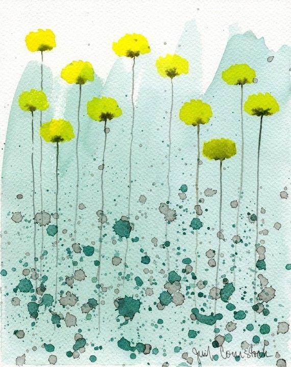 Buy 2 Get 1 FREE -- Watercolor Painting: Watercolor Flowers -- Art Print --  Sparkling Waters -- Yellow Flowers -- 8x10