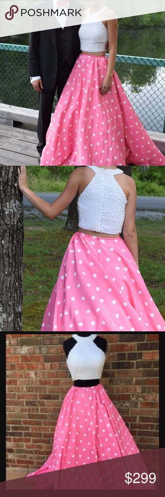 Sherri Hill 2 piece prom dress Sherri Hill pearl and Polka dot prom dress size 4 but altered to fit a 2. The dress has not been cut during alterations. Alterations can be taken out. This  dress is from the Sadie Robertson collection and worn once. It does have some wear on underside of hem but not visable when on. Excellent condition- only worn once Paid $700 2 piece prom gown. Sherri Hill Dresses Prom