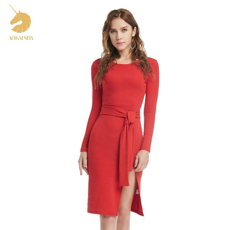 2017 winter herfst womendress nieuwe dames sexy vintage dress hoge taille feestjurken sexy rode vrouwen knielange dress m15483
