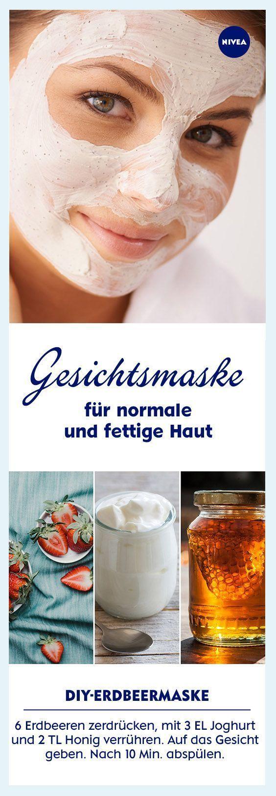 Make face mask yourself: mix strawberries, yogurt and honey, apply and apply.  -  Hautpflege-Rezepte