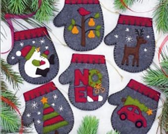 Rachel's of Greenfield - Felt Applique Kit - 4 x 4 inches ~ CHARCOAL MITTENS - Ornaments - #616