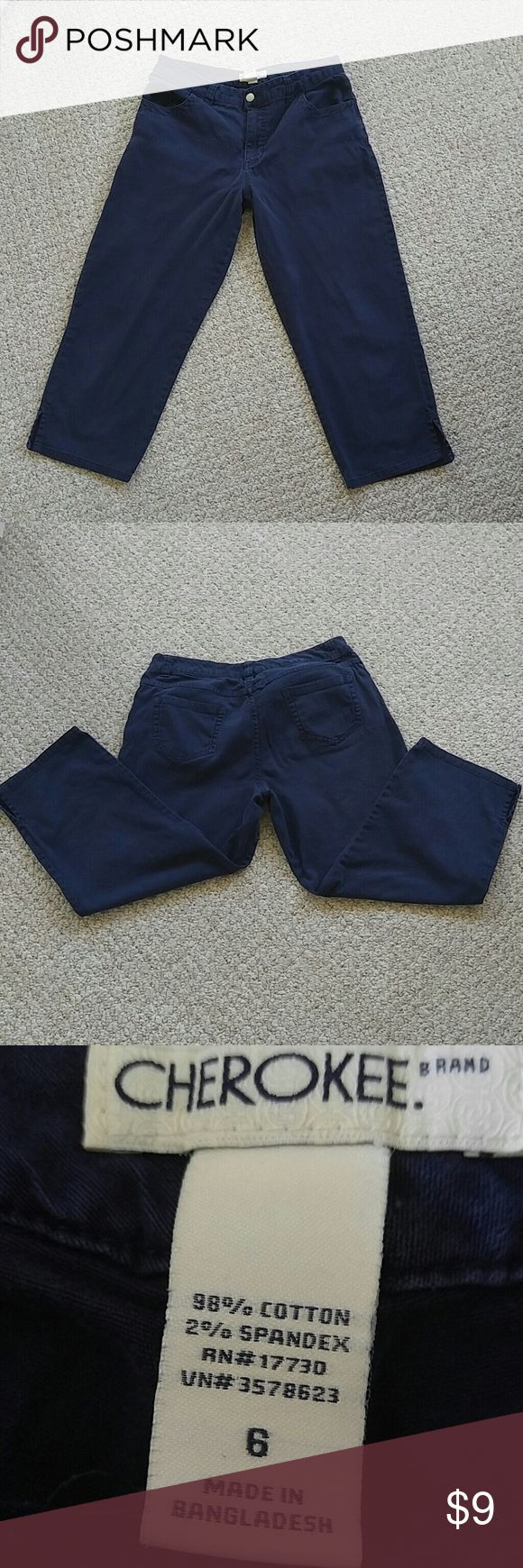 CLEARANCE! Navy Cherokee brand pants. BUY NOW! Navy blue Cherokee brand size 6 pants your basic cotton pants. 98% cotton 2% spandex. Machine wash cold with like colors only non-chlorine bleach when needed tumble dry low warm iron if necessary. Cherokee Pants Ankle & Cropped