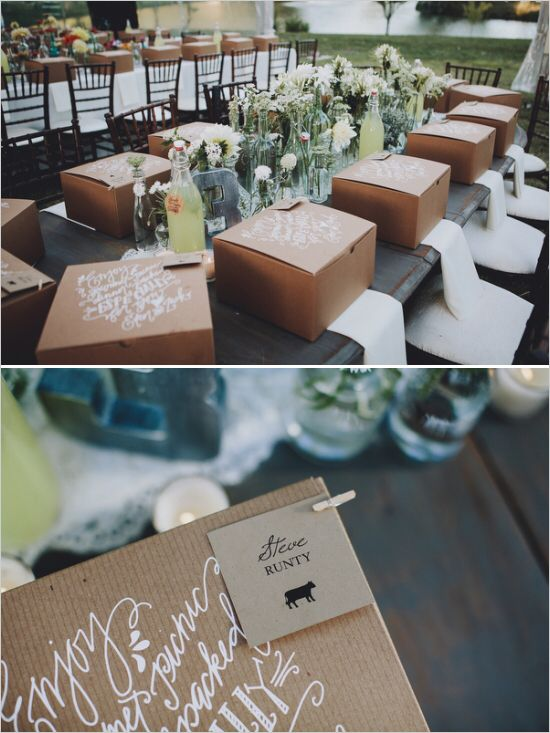 Laura - Instead of buffet, how about fancy boxed dinner - instead of plates and long serving line, pre-packaged meal in cute boxes like these!  This is so cute.  What do you think??