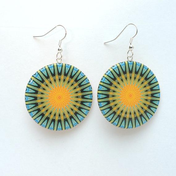 Yellow and green Kaleidoscope design earrings.