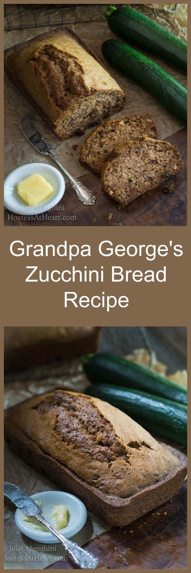 Grandpa George's (Zbread) Zucchini Bread recipe is not your ordinary zucchini bread recipe.  It is moist, delicious, and made with minimal ingredients. | HostessAtHeart.com via @HostessAtHeart