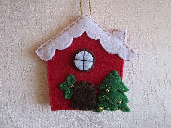 Felt Christmas Ornament   Felt House Ornament   by TinyFeltHeart