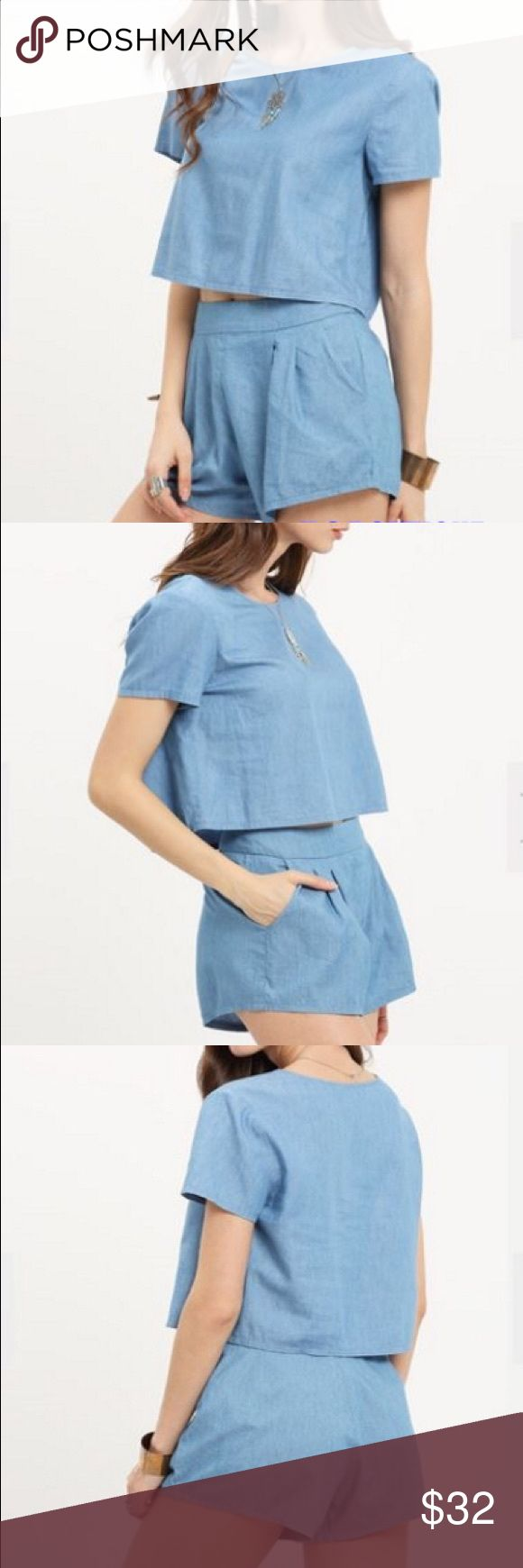 Light Blue Short Sleeve Twopiece Fabric: Fabric has no stretch Suit Type: Shorts Pattern Type: Plain Color: Blue Material: Cotton Neckline: Round Neck Sleeve Length: Short Sleeve Style: Casual Shorts Skorts