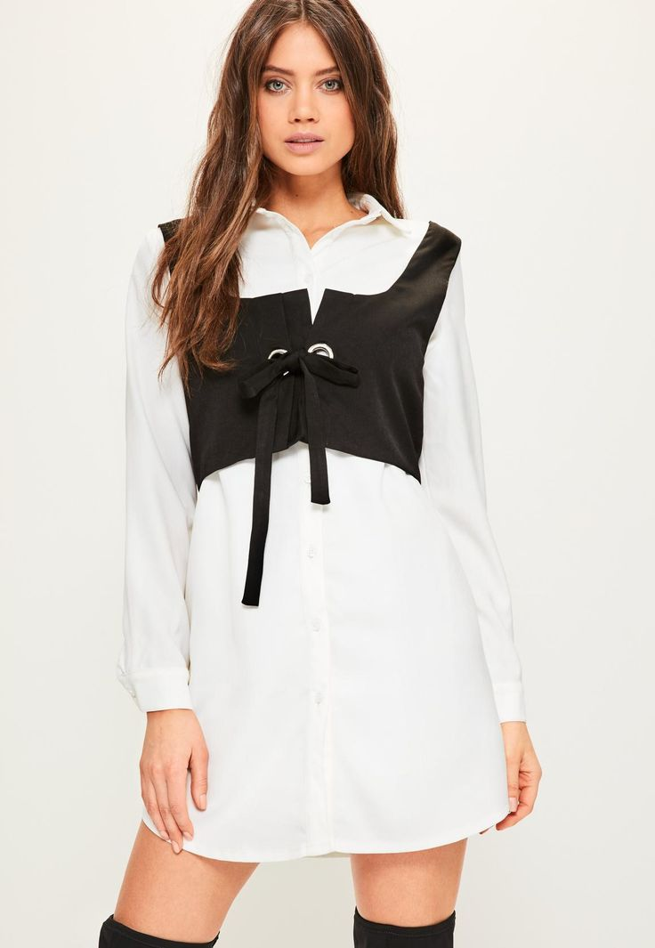 White Waistcoat Style Shirt Dress - Missguided