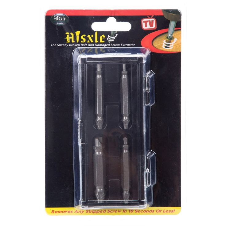 Damaged Screw Extractor and Remover Set by Aisxle,Easily Remove Stripped or Damaged Screws. Made From H.S.S. 4341#, the Hardness Is 62-63hrc,Set of 4 Stripped Screw Removers