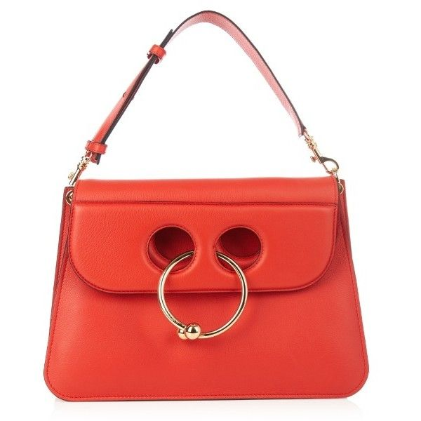 J.W.Anderson Pierce medium leather shoulder bag ($1,265) ❤ liked on Polyvore featuring bags, handbags, shoulder bags, red, genuine leather purse, leather shoulder bag, leather handbags, red shoulder bag and shoulder handbags