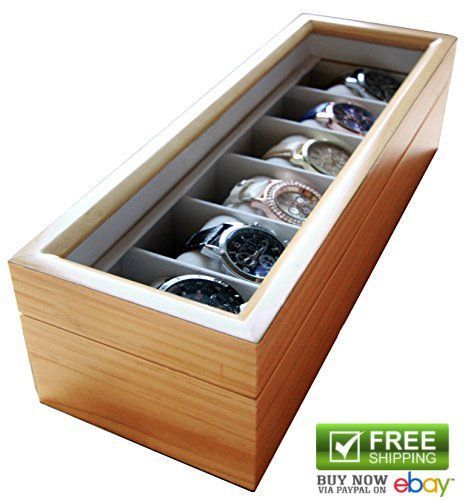Elegance Light Wooden Watch Box Cabinets Cases Solid Organizer Glass Display Top #caseElegance