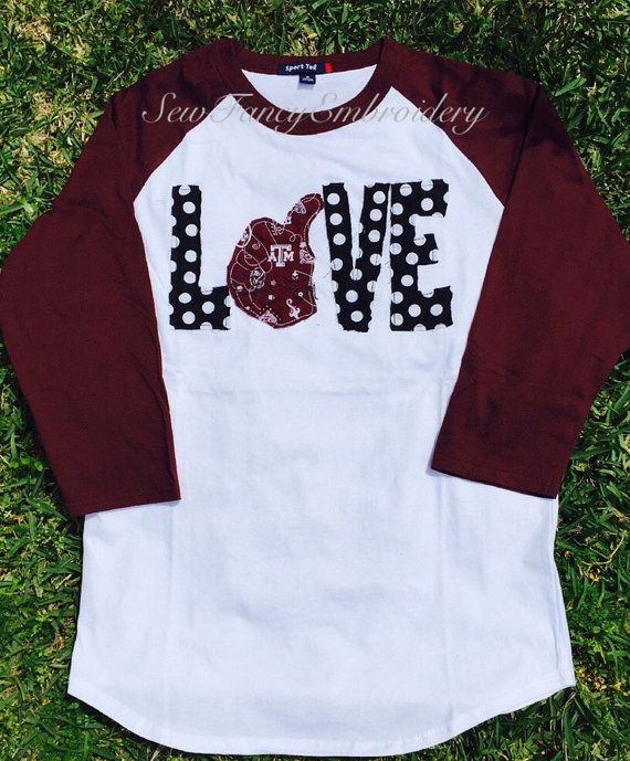 Love Aggies Baseball tee Texas A&M tee Texas by SewFancyEmbroidery