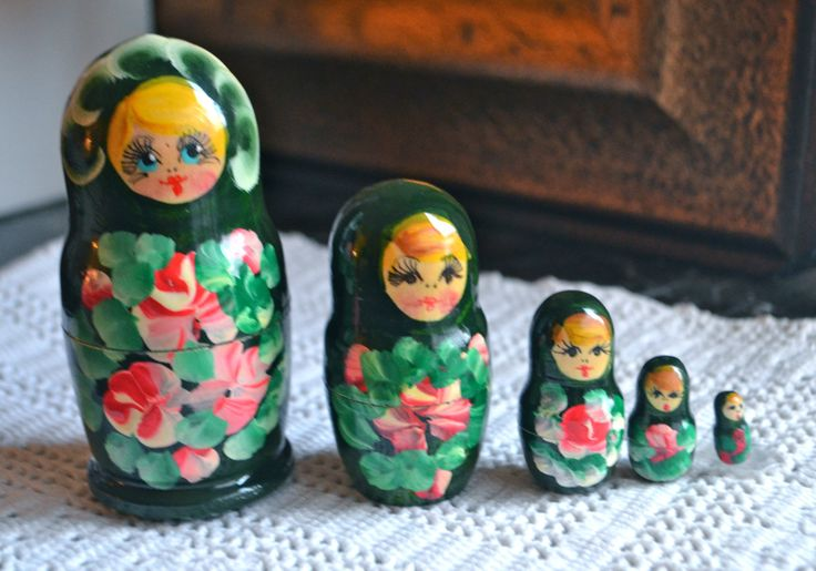 RUSSIAN DOLL Set of Five Folk Art Nesting Dolls Matryoshka with Forest Green Babushka Base Hand Painted Face and Flowers by StudioVintage on Etsy