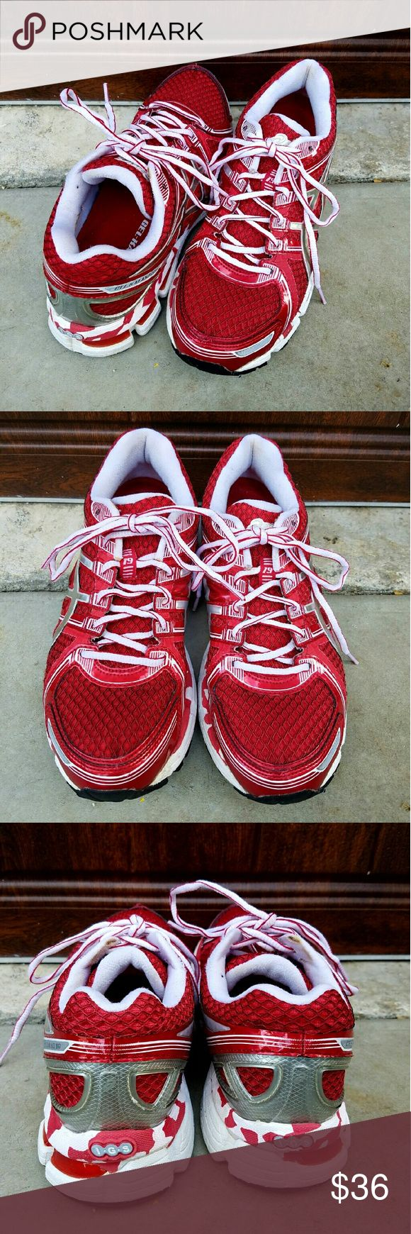 Gel Asics Kayano 19 Asics Gel Kayanos are my favorite running shoes. I used these red Kayanos for running, as can be seen by the wear on the soles. They do not have any rips or stains, & are in good condition overall. I used these shoes for about 5 months, but rotated them with two other pair, so they were not used everyday. Questions? Please don't hesitate to ask. Asics Shoes Athletic Shoes