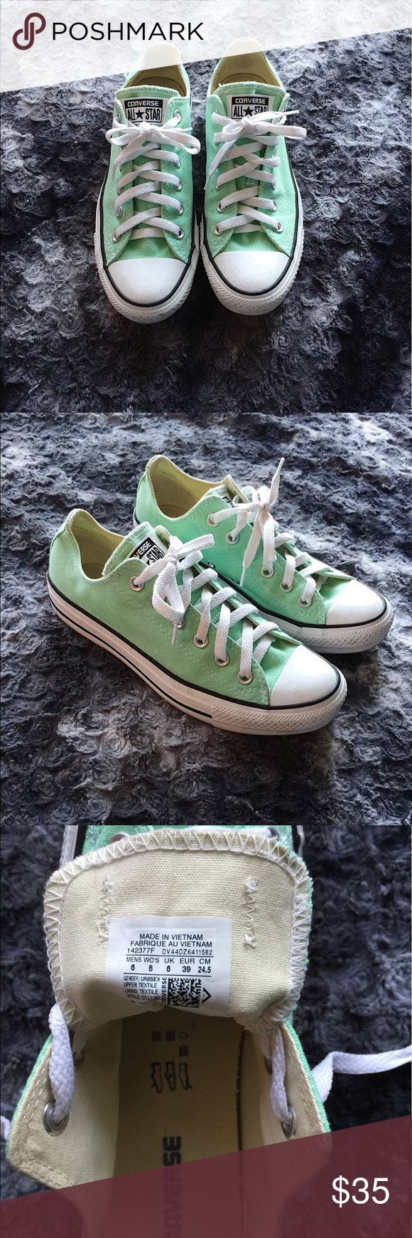 ‼️Price Drop‼️Mint Converse!! Perfect color for spring and summer! I only wore them 3 times! They have a few tiny scuff marks on the toe, but other than that they are like new! Size 8 in women's. Converse Shoes