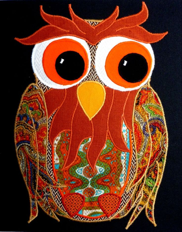 """Owl wall art.  10""""x10"""" recycled fabric appliqued on a black background. www.facebook.com/allison.whonewcreations"""