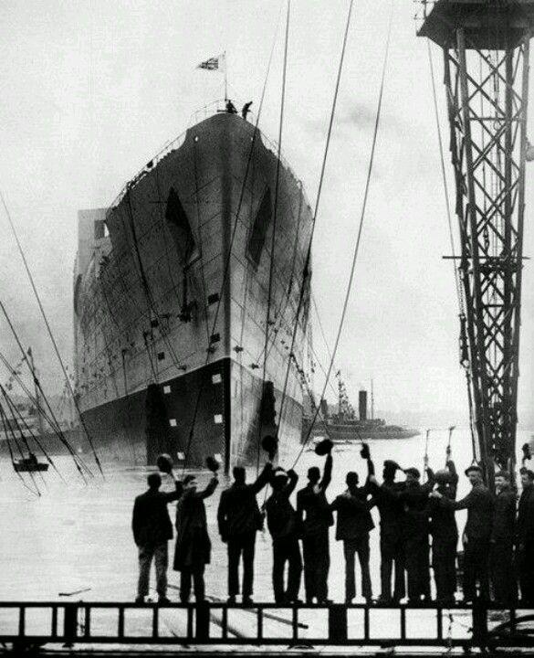 Waving the titanic when leaving Belfast.