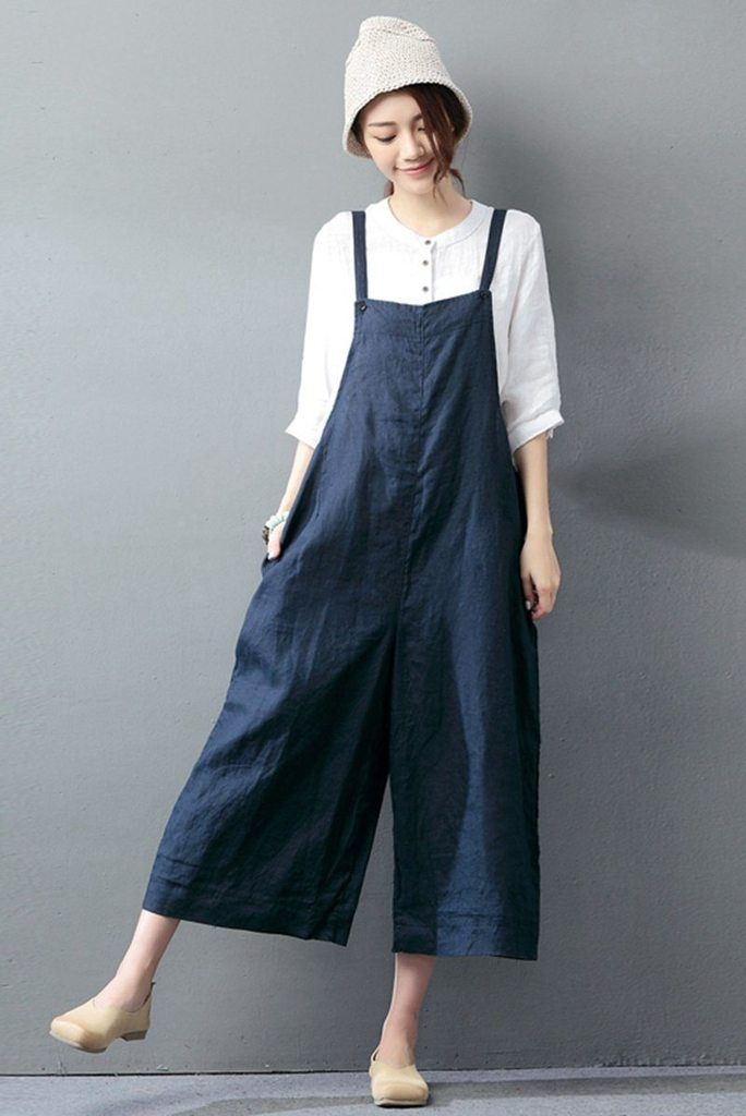 62b8edeff7b4 Navy Blue Cotton Linen Casual Loose Overalls Big Pocket Maxi Size Trousers  Fashion Jumpsuit