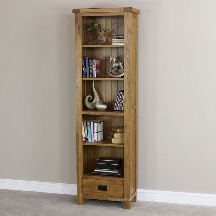 Rustic Oak 1 Drawer Tall Narrow Bookcase | Bookcase with ...