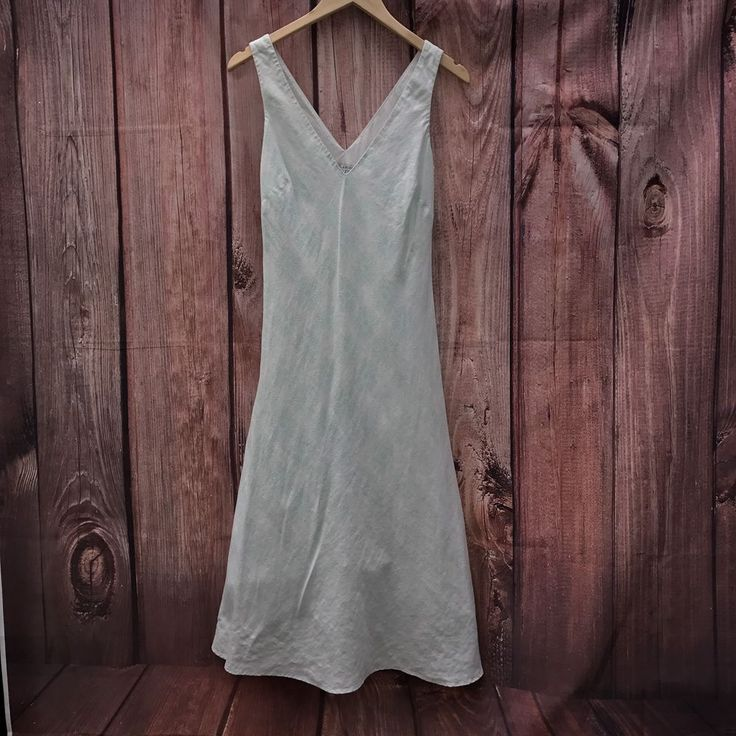 Womans Laura Ashley lined linen 100% cotton summer dress white green sunburst