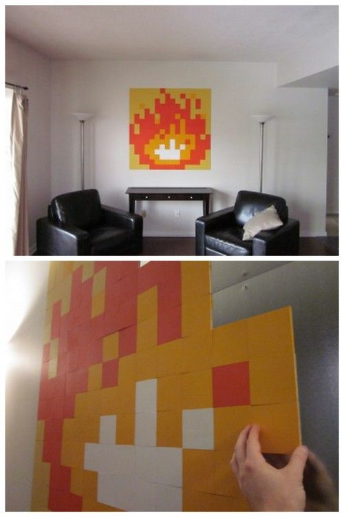DIY 8 Bit Zelda Fire Wall Art. I recently got a message about posting cheap home decor ideas. This looks pretty easy to do and the galleries of 8 bit art on this site are inspiring. They are doing magnetic interchangeable eight bit installations, but you could just paint this out using a grid. From 8 Bit Living here.First seen at SWISS MISS here (you can see the Etsy  Zelda Fireplace Screen at her site).