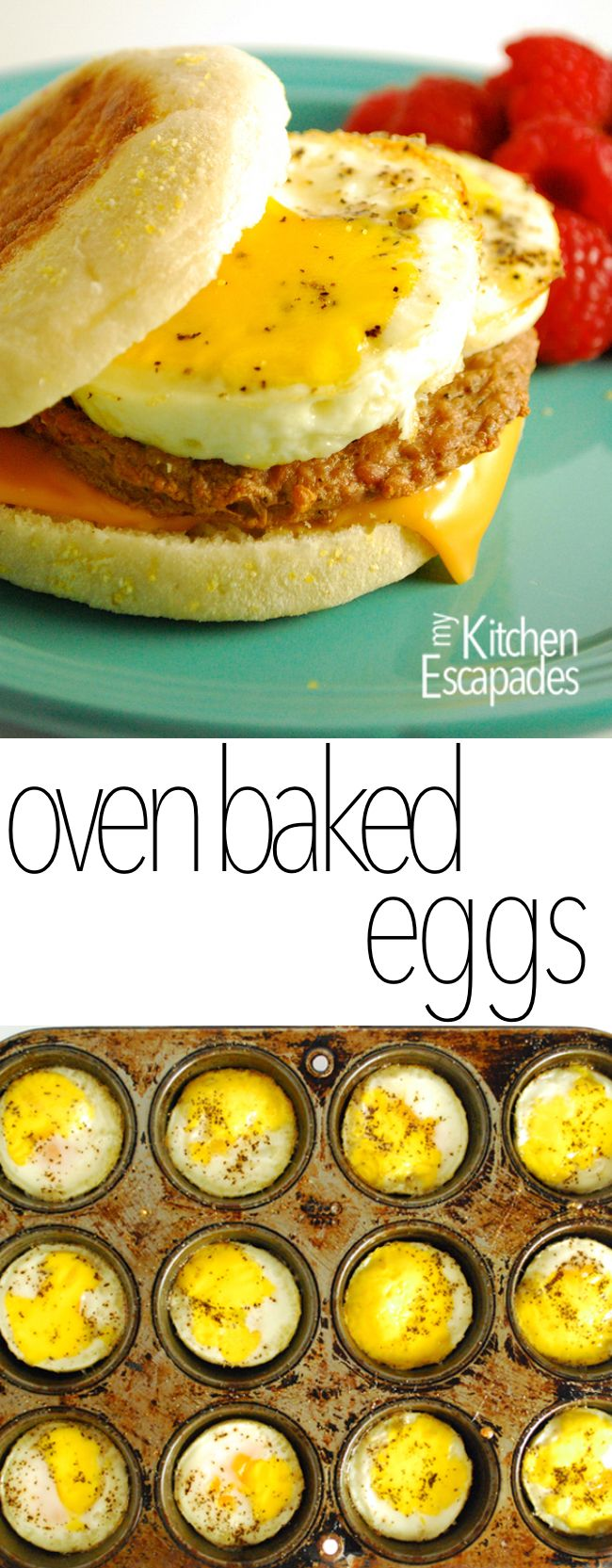 Breakfast Freezer Sandwiches (no muffin) made with oven baked eggs