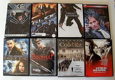 Lot of 8 DVDs Lethal Weapon 4 Violence GI Joe Ninja Assassin Colditz X2 Beowulf