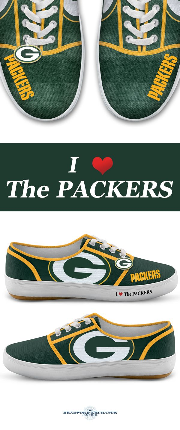 Step up your Packers pride with winning sneakers! Custom-designed with team logos, colors and a metallic logo charm, these NFL-licensed women's shoes are a must for Green Bay Packers fans.