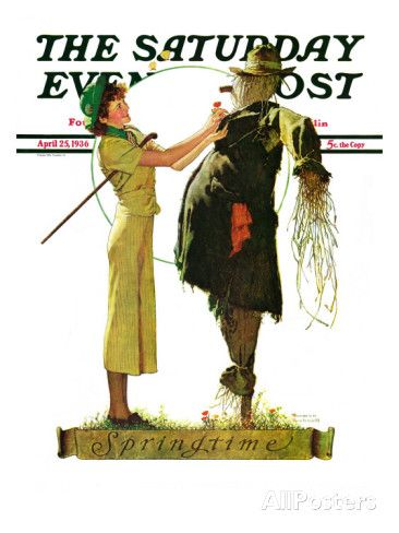 """""""Springtime, 1936"""" Saturday Evening Post Cover, April 25,1936 Giclee Print by Norman Rockwell"""