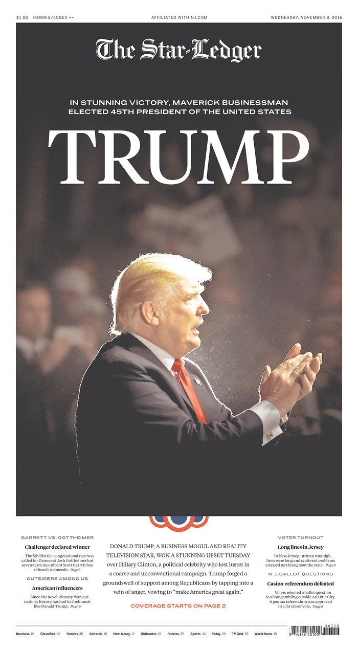 Newspaper front pages document Donald Trump's surprise presidential victory | NJ.com