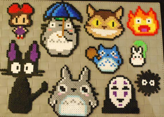 Studio Ghibli Sprites Perler Magnets/Necklaces by merkittenjewelry