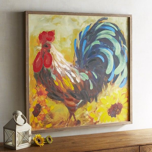 pier 1 imports rooster framed art 104 liked on polyvore featuring home - Home Decor Wall Hangings