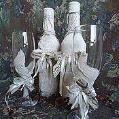 Свадебный салон ручной работы. Ярмарка Мастеров - ручная работа Свадебные бутылки и бокалы. Handmade.