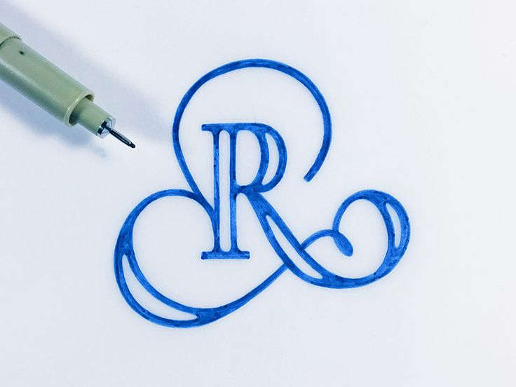 The letter r tattoo typography and calligraphy