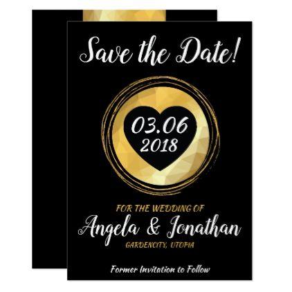 Save the Date golden metallic invitation card - invitations custom unique diy personalize occasions