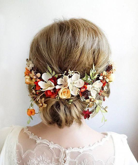 set of 2 wedding hair accessories bridal hair clips wedding hair flower Orange bridesmaid hair flowers bridal hairpiece