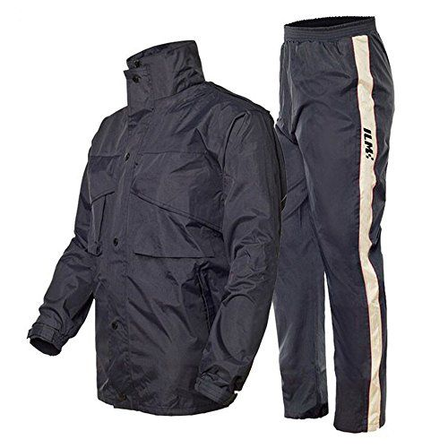 ILM Motorcycle Rain Suit - Two Piece Rain Gear with Jacket and Pants for Women and Men (XL, Navy Blue). For product info go to:  https://www.caraccessoriesonlinemarket.com/ilm-motorcycle-rain-suit-two-piece-rain-gear-with-jacket-and-pants-for-women-and-men-xl-navy-blue/