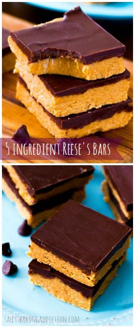 Easy homemade Reese's Peanut Butter Cup Bars made with only 5 ingredients!