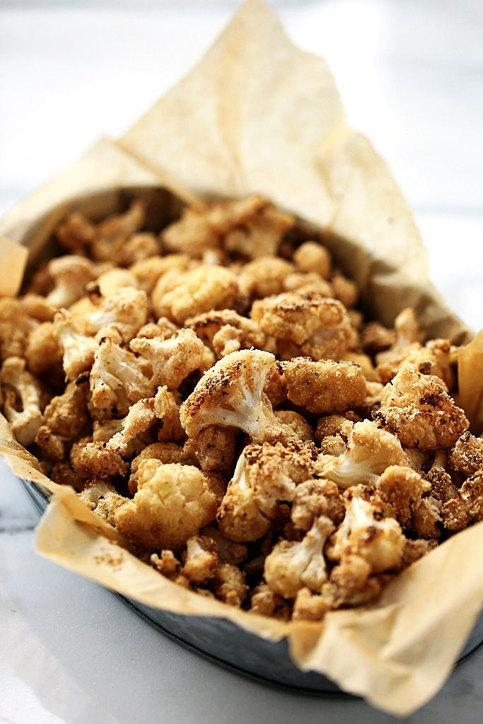 "Crispy Sea Salt & Vinegar Cauliflower ""Popcorn"" - Just 3 main ingredients make up this healthy and addictive snack!"