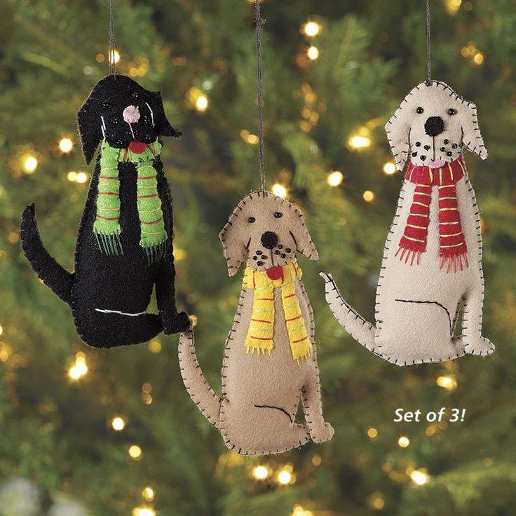 Felt Dog Ornaments Set of Three - Dog Beds, Gates, Crates, Collars, Toys, Dog Clothing & Gifts