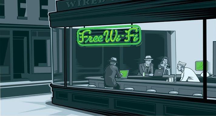 Wi-Fi Nighthawks Diner, Wired Magazine. 2003  © Josh Ellingson, Illustrator