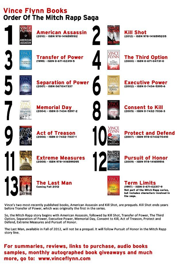 Vince Flynn books-read them all! The only books I will re read. I'll miss his TV interviews too.