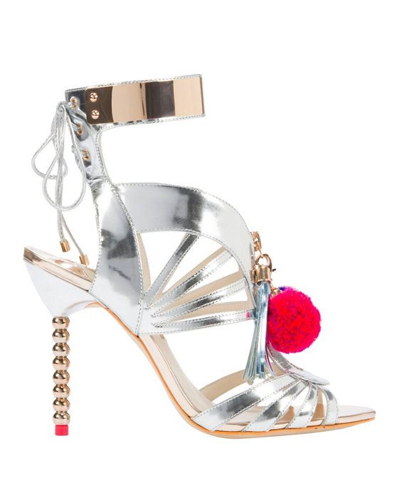 Sophia Webster Yasmina Pom Pom Sandal: Strappy caged vamp with a zip tassel  pull front